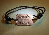 Leather bracelet with personalized latitude longitude in copper