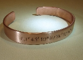 Latitude longitude copper bracelet with personalized coordinates