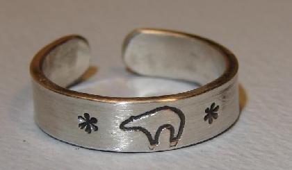 Spirit bear toe ring handmade from sterling silver