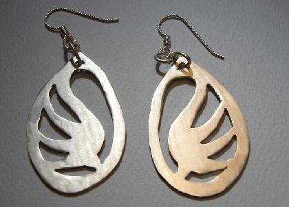 Sterling silver phoenix earrings handmade in ethereal flight