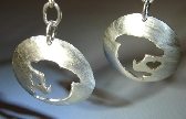 Sterling silver leaping dolphin earrings with little hearts