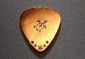 Sea turtle guitar pick handmade in copper