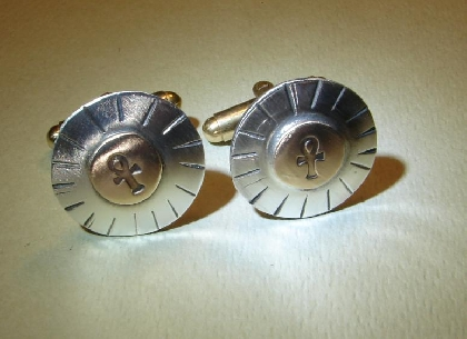 Sterling silver cuff links with bronze sun and ankh symbols