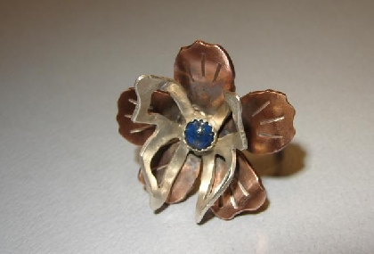 Sterling silver and copper butterfly ring with genuine lapis
