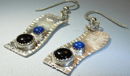Southwestern earrings in sterling silver with lapis and onyx stones