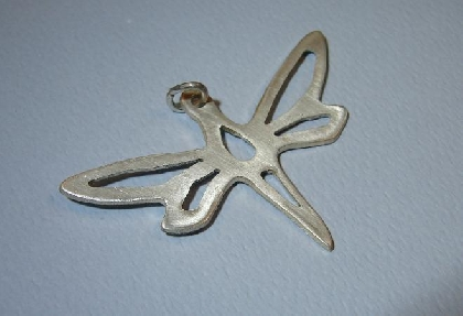 Sterling silver dragonfly pendant handmade piece and cut details