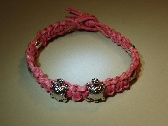 Pink breast cancer awareness hemp bracelet or anklet