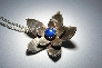 Handmade sterling silver flower pendant with blue genuine lapis