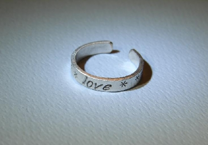 Sterling silver toe ring with love