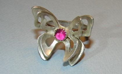 Sterling silver double wing butterfly ring with pink ruby