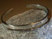 Carpe Diem massive sterling silver cuff bracelet