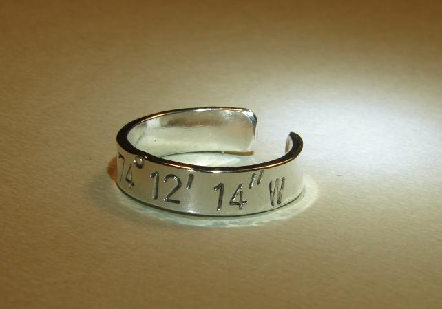 Latitude longitude sterling silver ring for you to personalize
