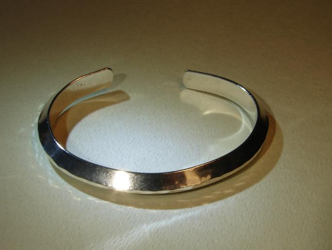 Massive sterling silver triangular bracelet