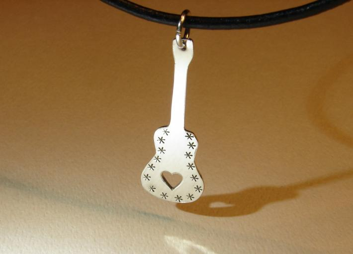 Sterling silver guitar necklace with heavy metal mirror finish