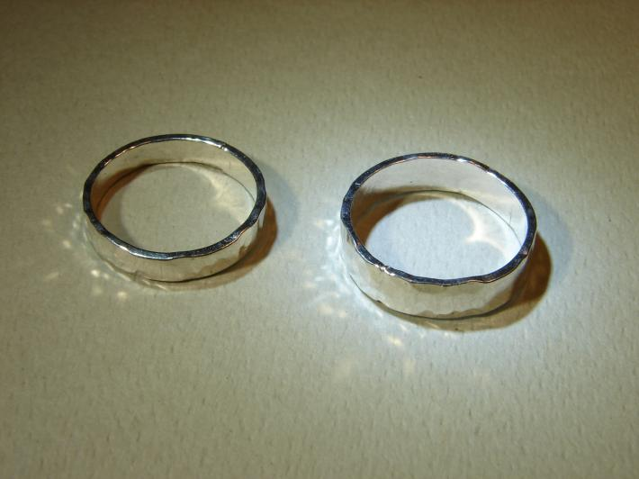 Hammered sparkling sterling silver wedding bands or ring set
