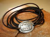 Sterling silver latitude longitude leather wrap bracelet