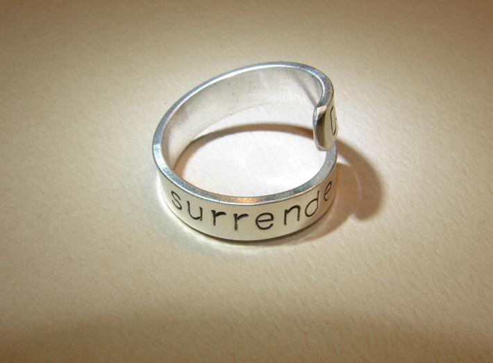 Sterling silver Dont surrender bypass ring