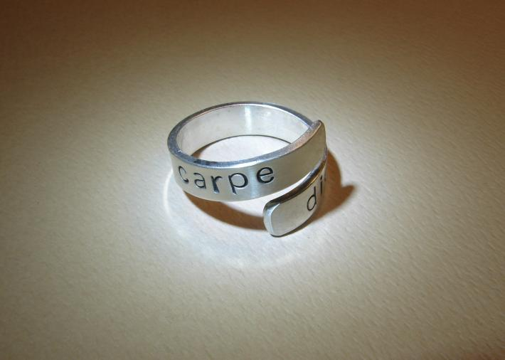 Carpe diem sterling silver bypass ring