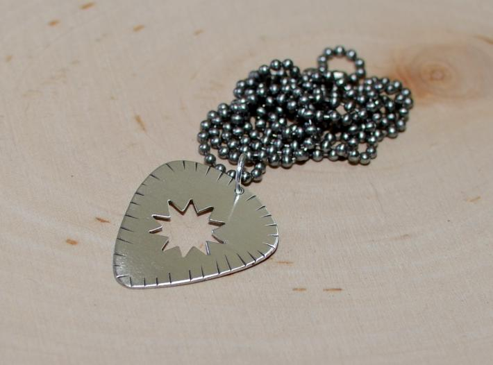 Radiant sunburst guitar pick pendant in sterling silver