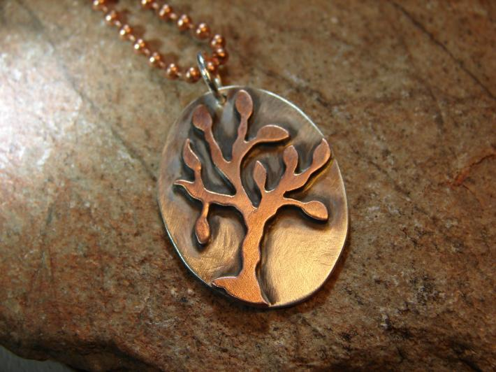 Sterling silver pendant with one of a kind copper tree