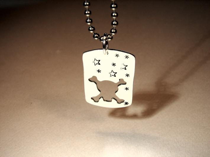 Sterling silver skull and crossbones dog tag for people or pets
