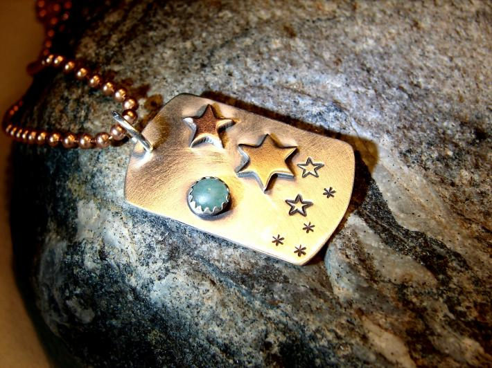 Sterling silver pendant the star shine with copper bronze and green jade