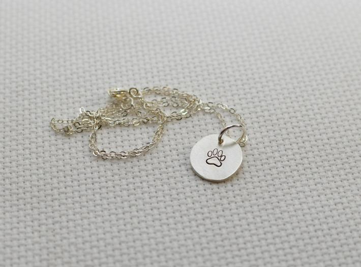 Paw charm pendant in sterling silver