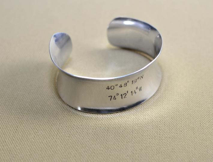 Sterling silver latitude longitude anticlastic cuff bracelet