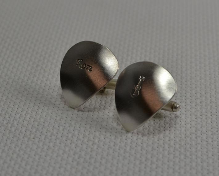 Sterling silver guitar pick cuff links