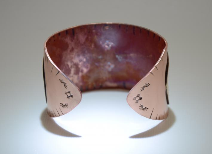 Copper and bronze spirit bear cuff bracelet