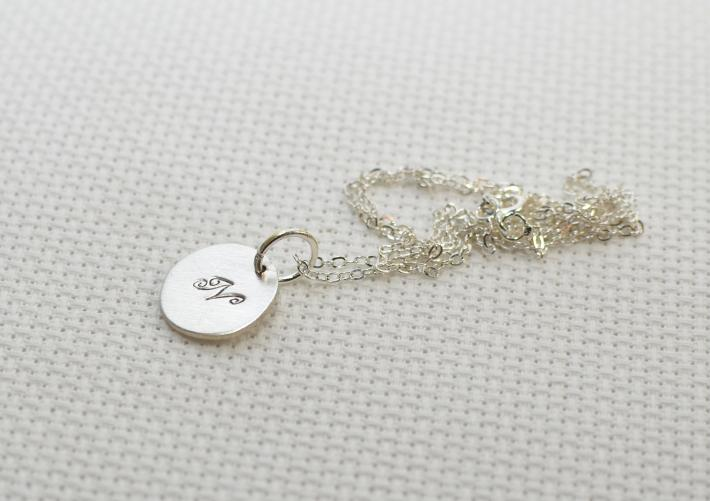 Sterling silver monogram charm necklace