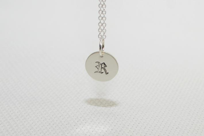 Sterling silver old english monogram charm pendant