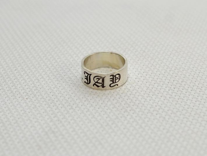 Sterling silver personalized name ring in old English