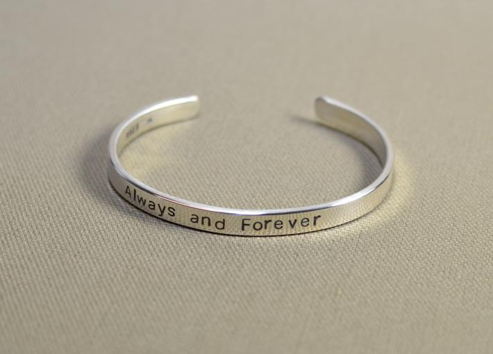 Sterling silver always and forever cuff bracelet