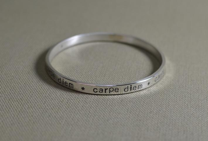Massive sterling silver bangle with carpe diem