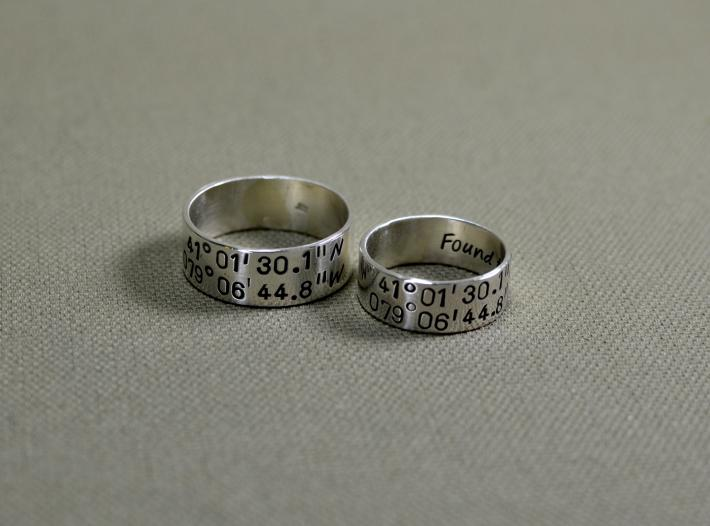 Latitude longitude sterling silver wedding bands