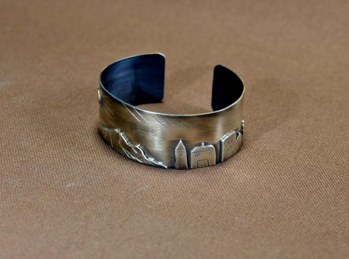 Mountain village sterling silver landscape bracelet