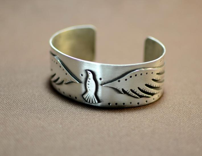 Sterling silver art deco bird bracelet