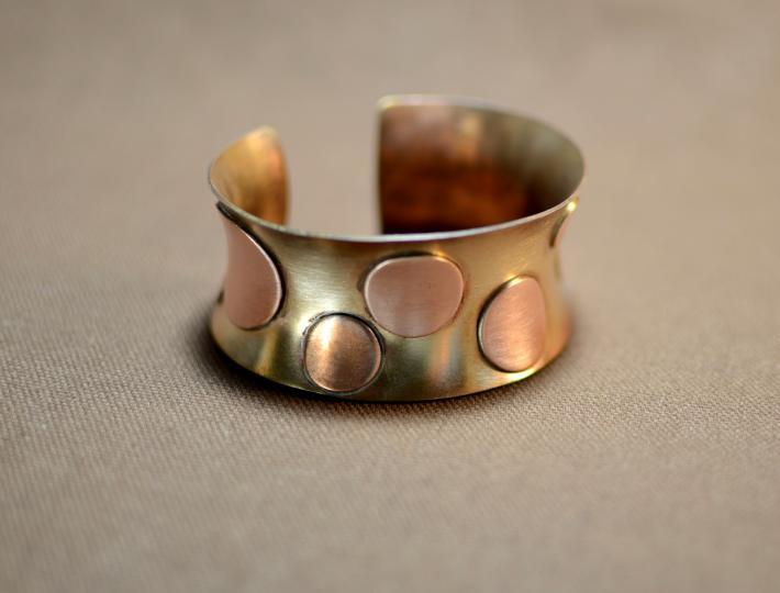 Copper polka dots anticlastic bronze bracelet