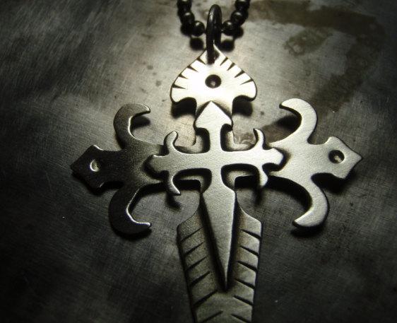 Sterling silver fleur de lis massive cross