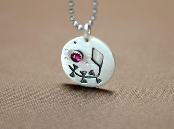 Sterling silver shadowbox pendant with kite and ruby