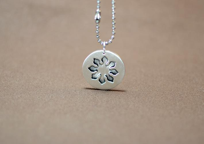 Artistic flower in sterling silver shadowbox pendant