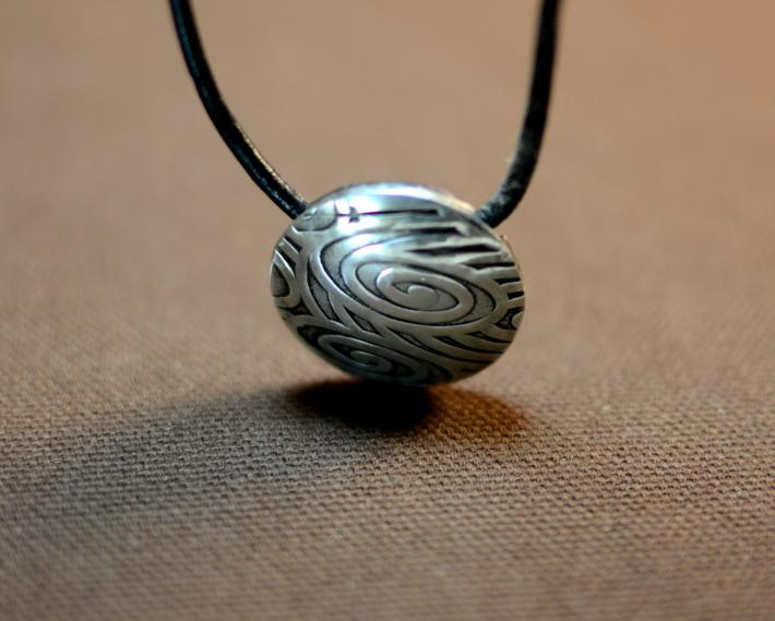 Sterling silver ocean waves bead necklace