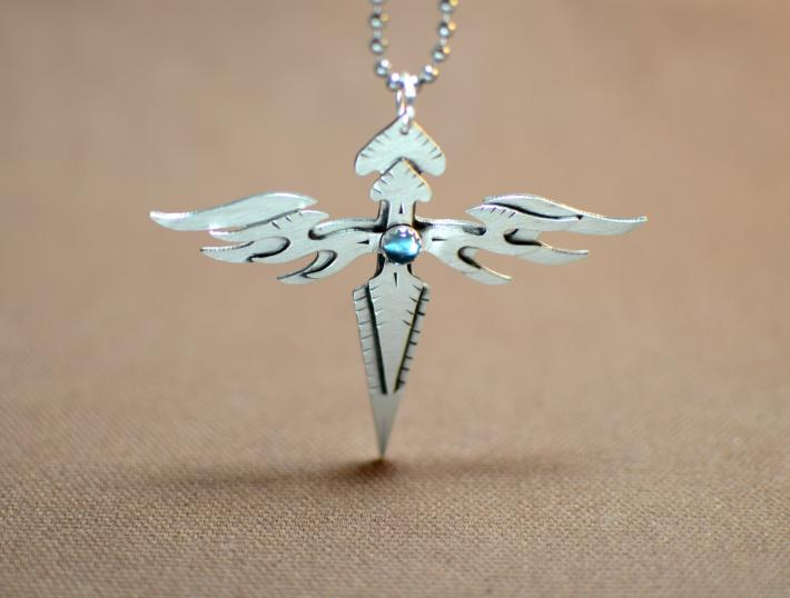 Sterling silver double angle wings sterling cross with blue topaz