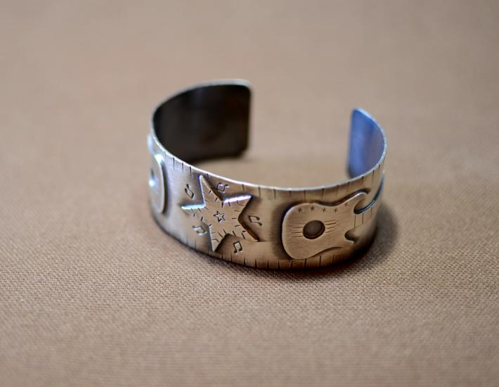Sterling silver guitar bracelet for music lovers and rock stars