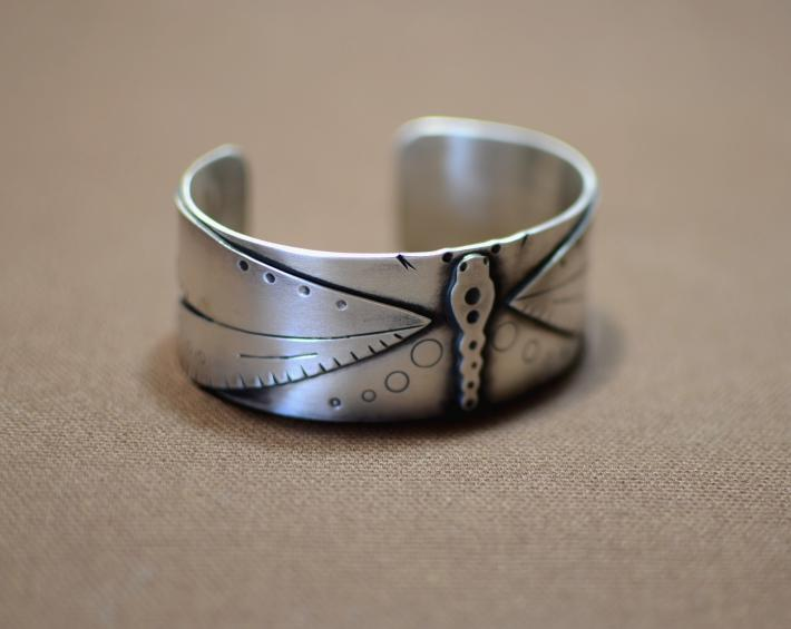 Art Nouveau inspired sterling silver dragonfly cuff bracelet