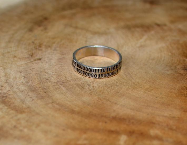 I love you binary code sterling silver ring