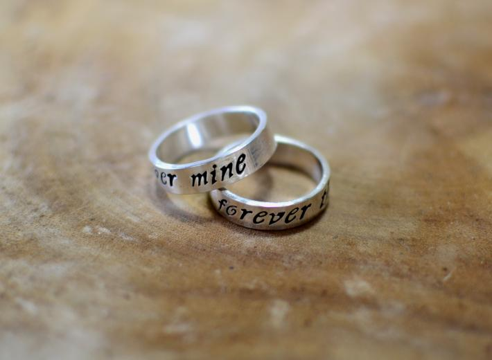 Sterling silver forever mine ring set or weddings bands
