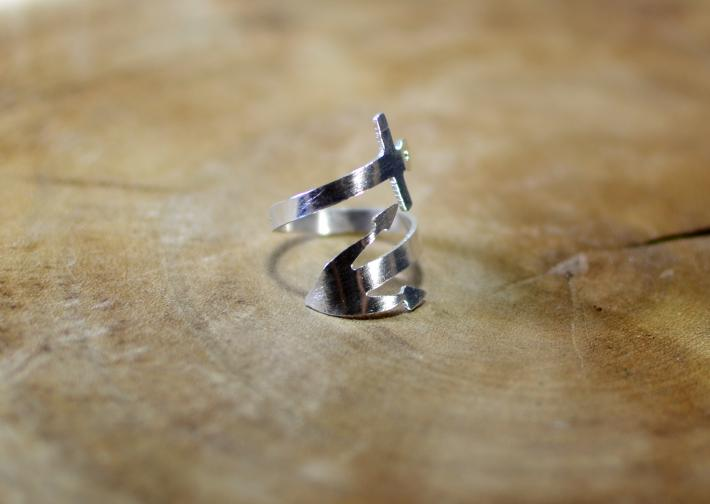 Sterling silver anchor bypass ring with I refuse to sink