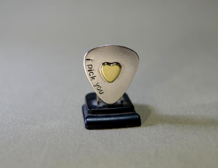 Sterling silver I pick you guitar pick with brass heart